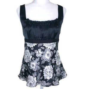 WHBM Floral Empire Waist Top size M